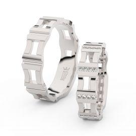 Snubní prsteny z bílého zlata s brilianty, pár - 3084