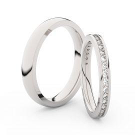 Snubní prsteny z bílého zlata s brilianty, pár - 3893