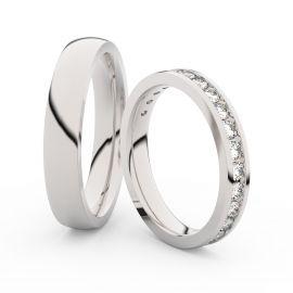 Snubní prsteny z bílého zlata s brilianty, pár - 3894