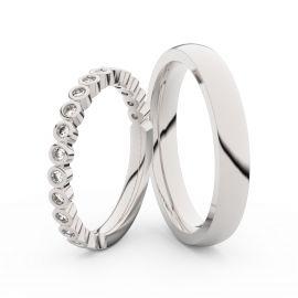 Snubní prsteny z bílého zlata s brilianty, pár - 3899
