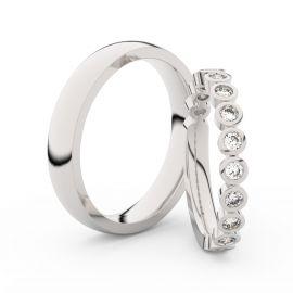 Snubní prsteny z bílého zlata s brilianty, pár - 3900