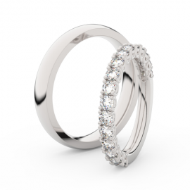 Snubní prsteny z bílého zlata s brilianty, pár - 3903