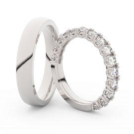 Snubní prsteny z bílého zlata s brilianty, pár - 3904