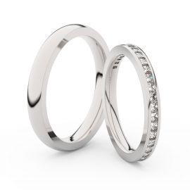 Snubní prsteny z bílého zlata s brilianty, pár - 3906