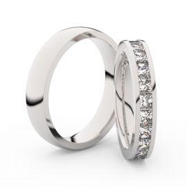 Snubní prsteny z bílého zlata s brilianty, pár - 3908