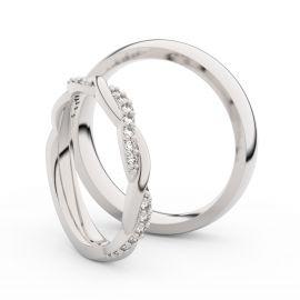 Snubní prsteny z bílého zlata s brilianty, pár - 3952