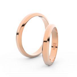 Snubní prsteny z růžového zlata, 3.15 mm, lichoběžný, pár - 6B32