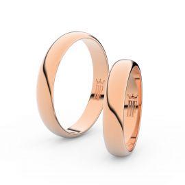 Snubní prsteny z růžového zlata, 4 mm, půlkulatý, pár - 2C40
