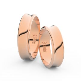 Snubní prsteny z růžového zlata, 5.6 mm, konkávní, pár - 5C57