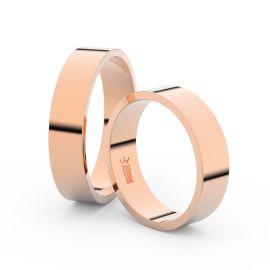 Snubní prsteny z růžového zlata, 5 mm, plochý, pár - 1G50