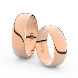 Snubní prsteny z růžového zlata, 6.5 mm, půlkulatý, pár - 3B65