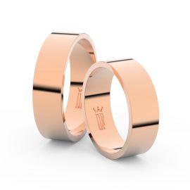 Snubní prsteny z růžového zlata, 6 mm, plochý, pár - 1G60