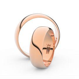 Snubní prsteny z růžového zlata, 6 mm, půlkulatý, pár - 3A60
