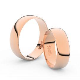 Snubní prsteny z růžového zlata, 6 mm, půlkulatý, pár - 9A60