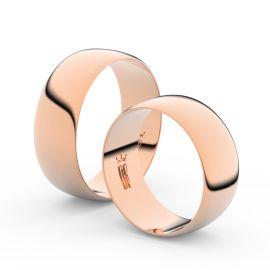 Snubní prsteny z růžového zlata, 7.5 mm, půlkulatý, pár - 9B80