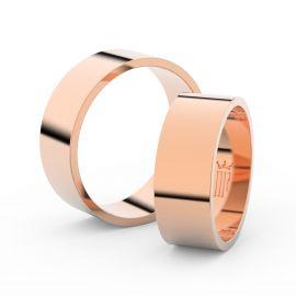 Snubní prsteny z růžového zlata, 7 mm, plochý, pár - 1G70