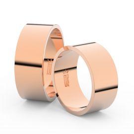 Snubní prsteny z růžového zlata, 8 mm, plochý, pár - 1G80