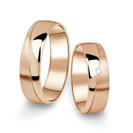 Snubní prsteny z růžového zlata s briliantem, pár - 01