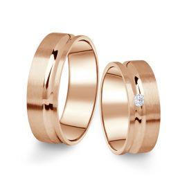 Snubní prsteny z růžového zlata s briliantem, pár - 07
