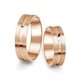 Snubní prsteny z růžového zlata s briliantem, pár - 08