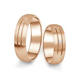 Snubní prsteny z růžového zlata s briliantem, pár - 13