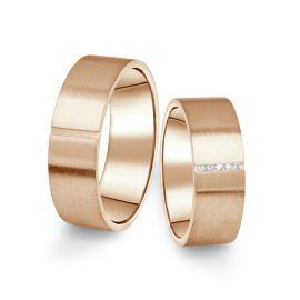 Snubní prsteny z růžového zlata s brilianty, pár - 17