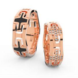Snubní prsteny z růžového zlata s brilianty, pár - 3042