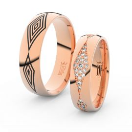 Snubní prsteny z růžového zlata s brilianty, pár - 3074