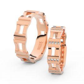 Snubní prsteny z růžového zlata s brilianty, pár - 3084