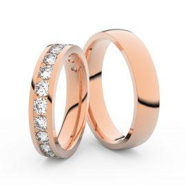 Snubní prsteny z růžového zlata s brilianty, pár - 3895