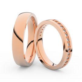 Snubní prsteny z růžového zlata s brilianty, pár - 3897