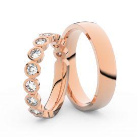 Snubní prsteny z růžového zlata s brilianty, pár - 3901