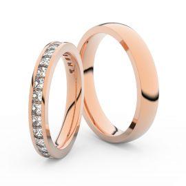 Snubní prsteny z růžového zlata s brilianty, pár - 3907