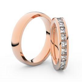 Snubní prsteny z růžového zlata s brilianty, pár - 3908