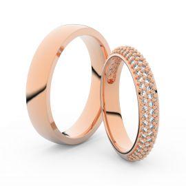 Snubní prsteny z růžového zlata s brilianty, pár - 3918