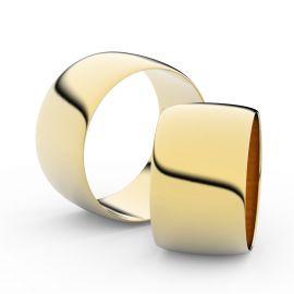 Snubní prsteny ze žlutého zlata, 11 mm, půlkulatý, pár - 9C110