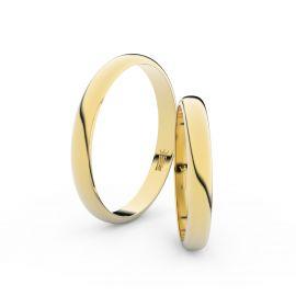 Snubní prsteny ze žlutého zlata, 2.9 mm, půlkulatý, pár - 4F30