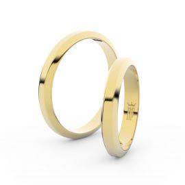 Snubní prsteny ze žlutého zlata, 3.15 mm, lichoběžný, pár - 6B32
