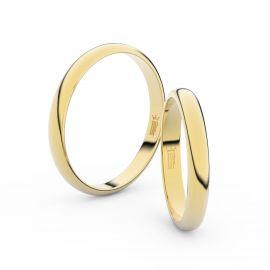 Snubní prsteny ze žlutého zlata, 3 mm, půlkulatý, pár - 2A30