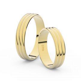 Snubní prsteny ze žlutého zlata, 4.7 mm, trojvlnný, pár - 4J47