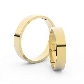 Snubní prsteny ze žlutého zlata, 4 mm, plochý, pár - 1G40