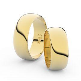Snubní prsteny ze žlutého zlata, 7.5 mm, půlkulatý, pár - 3C75