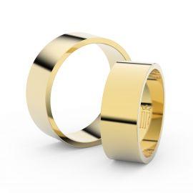 Snubní prsteny ze žlutého zlata, 7 mm, plochý, pár - 1G70