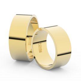 Snubní prsteny ze žlutého zlata, 8 mm, plochý, pár - 1G80