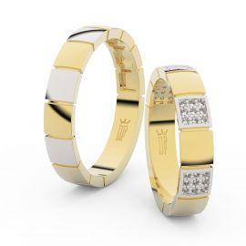 Snubní prsteny ze žlutého zlata s brilianty, pár - 3057
