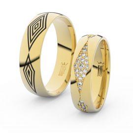 Snubní prsteny ze žlutého zlata s brilianty, pár - 3074