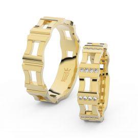 Snubní prsteny ze žlutého zlata s brilianty, pár - 3084