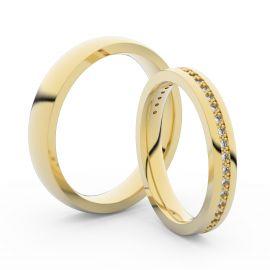 Snubní prsteny ze žlutého zlata s brilianty, pár - 3896