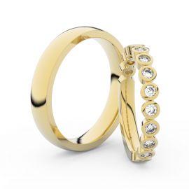 Snubní prsteny ze žlutého zlata s brilianty, pár - 3900