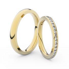 Snubní prsteny ze žlutého zlata s brilianty, pár - 3906